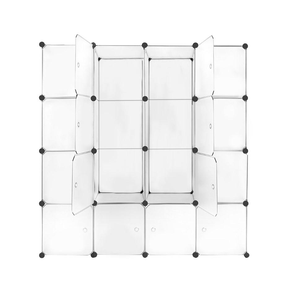 DIY 16 Cube Storage Cabinet Shoe Rack Shelf Stackable Organiser Portable