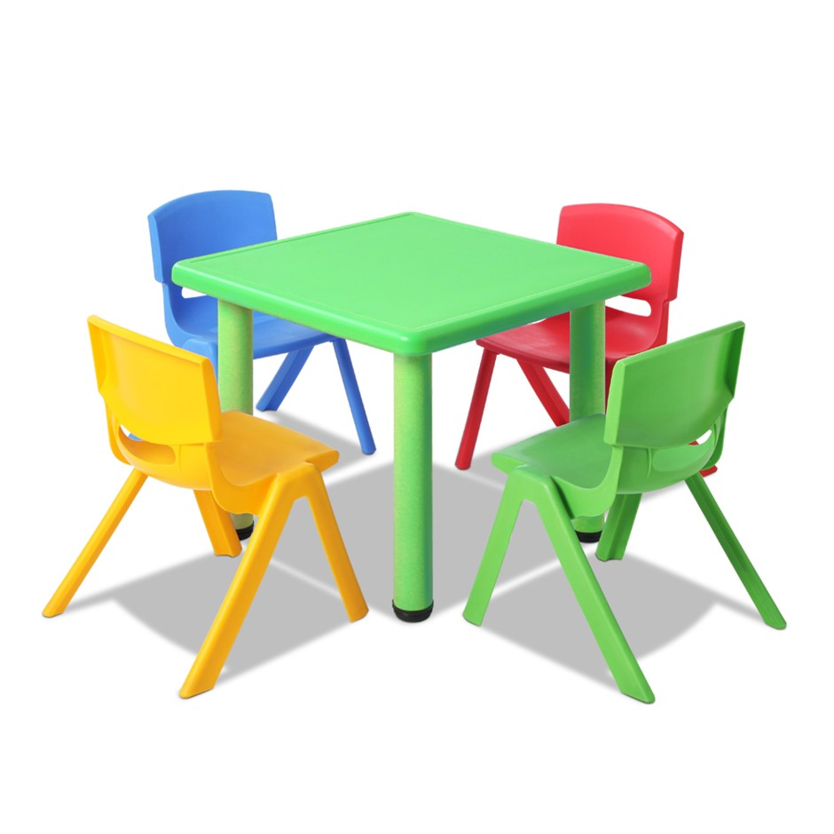 Keezi Kids Table and Chair Set Children Study Furniture Plastic Green 5PC