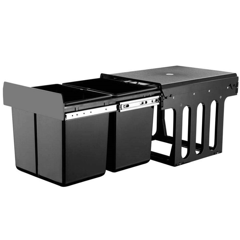 2X15L Pull Out Bin Kitchen Double Dual Twin Bins Sliding Waste Basket