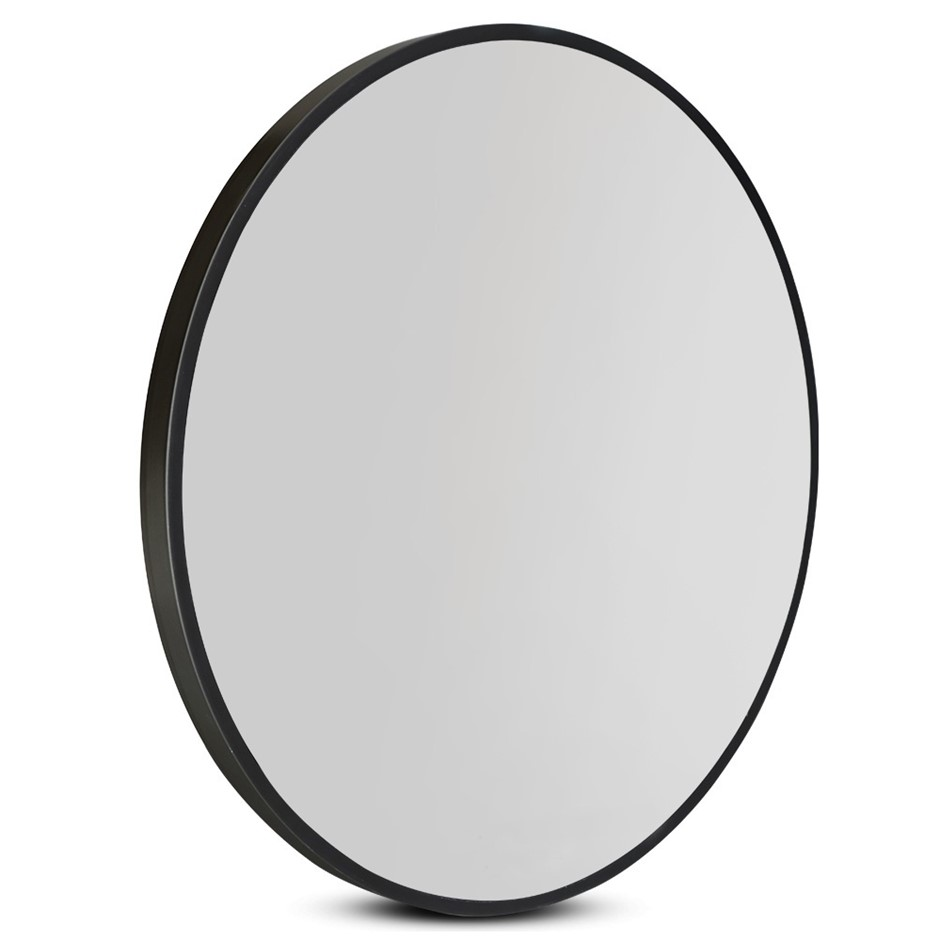 Round Wall Mirror 50cm Makeup Mirror Frameless Bathroom Vanity Black Decor