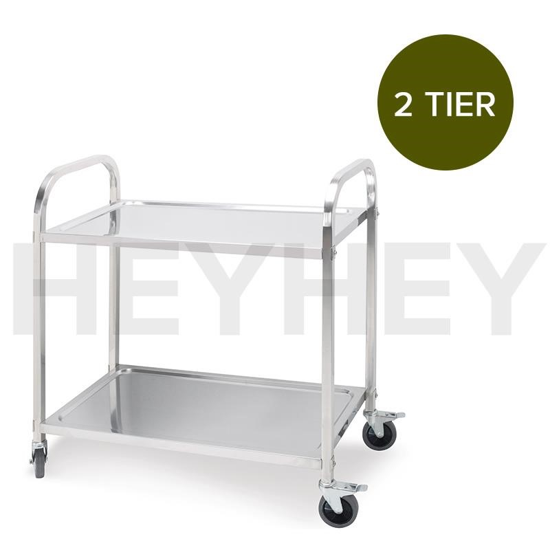SOGA 2 Tier S/S Kitchen Dining Food Cart Trolley Utility - 75x40x83.5cm Sml