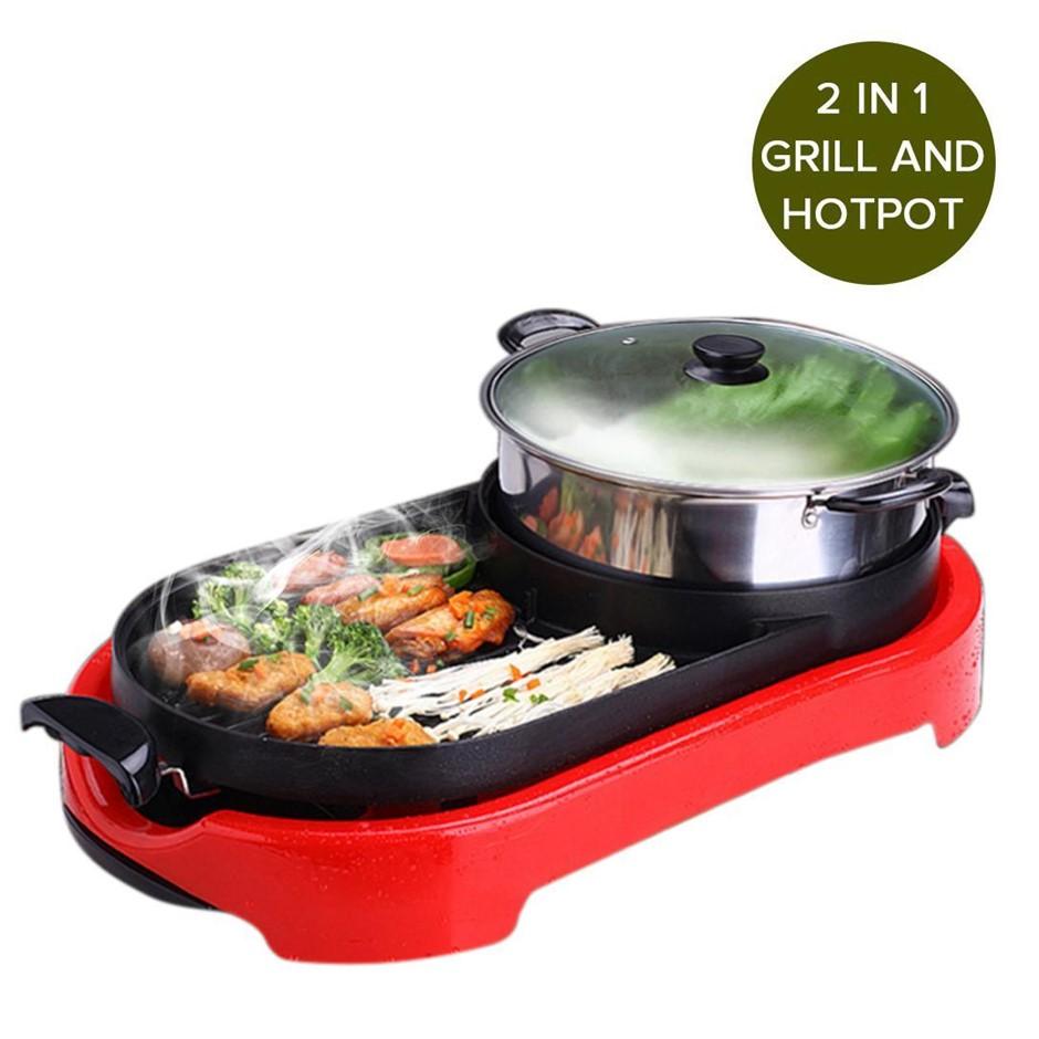 SOGA 2 in 1 BBQ Elec. Pan Grill Teppanyaki S/Steel Hot Pot Steamboat Red