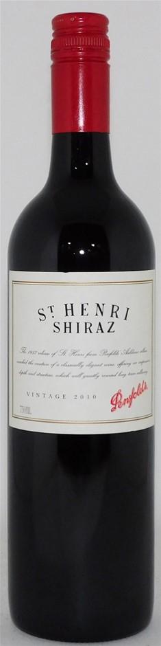 Penfolds `St Henri` Shiraz 2010 (1 x 750mL), SA. Screwcap closure.