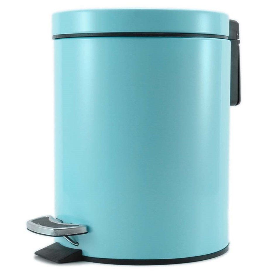 Foot Pedal Stainless Steel Garbage Waste Trash Bin Round 12L Blue