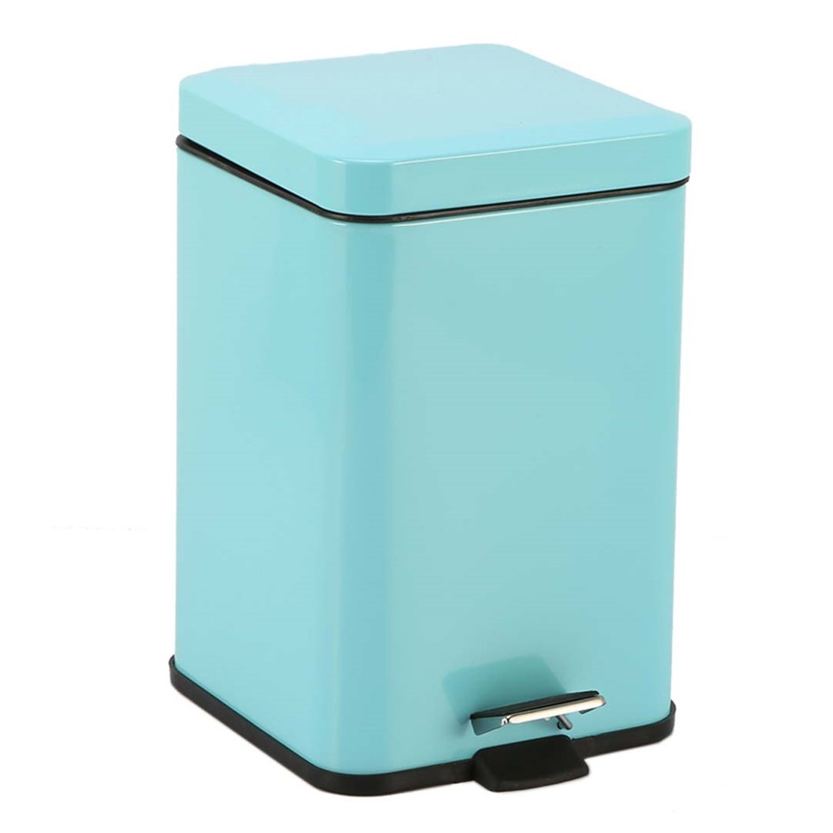Foot Pedal Stainless Steel Garbage Waste Trash Bin Square 6L Blue