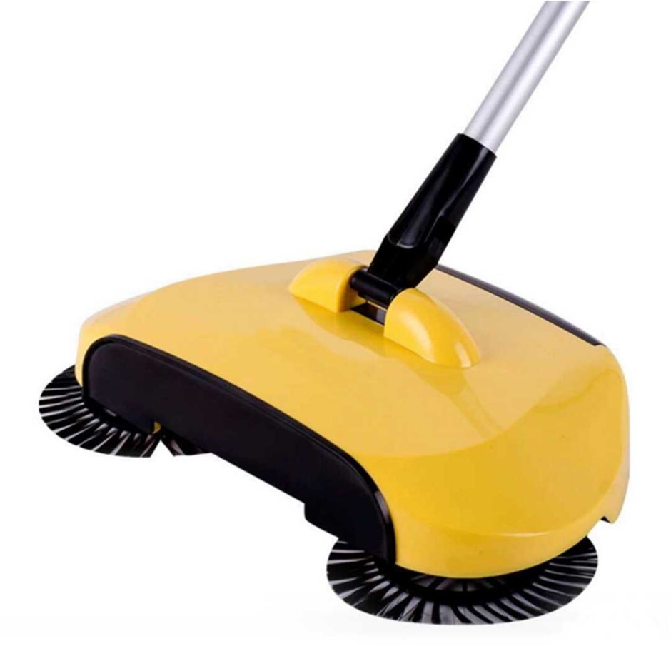 Auto Household Spin Hand Push Sweeper Broom Floor Dust Cleaner Mop Yellow