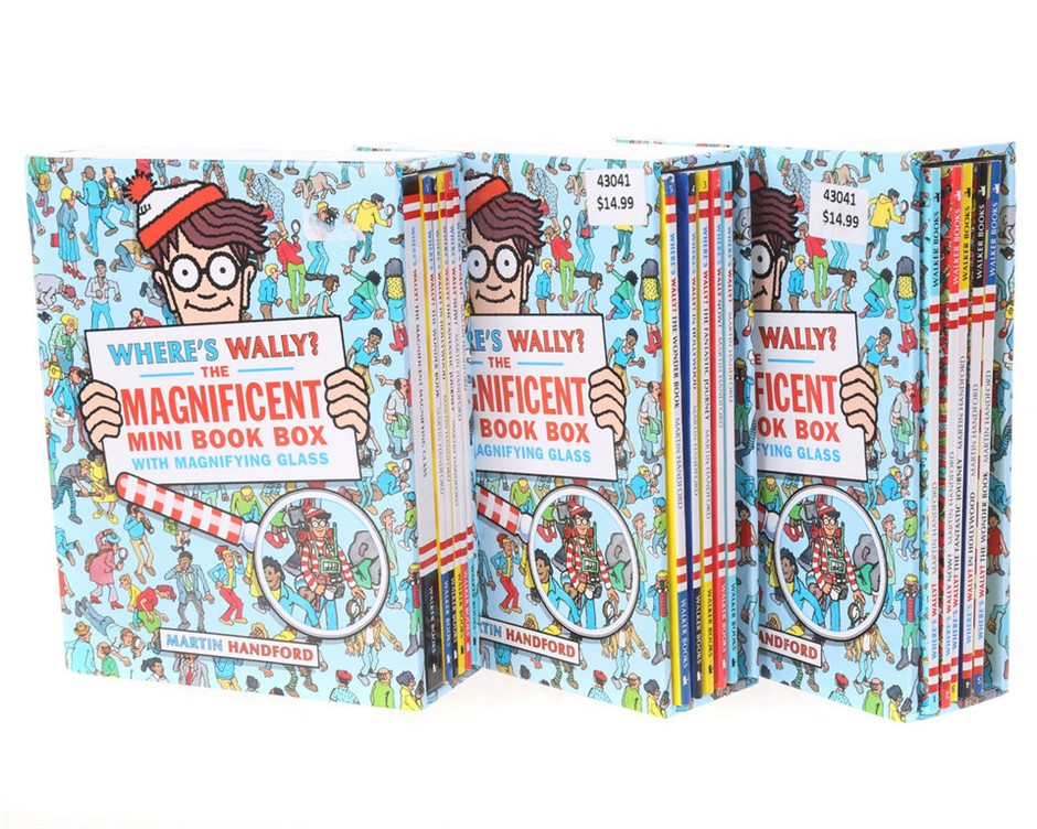 3 x Sets of Where`s Wally The Magnificent Mini Book Box. N.B. 2 set missing