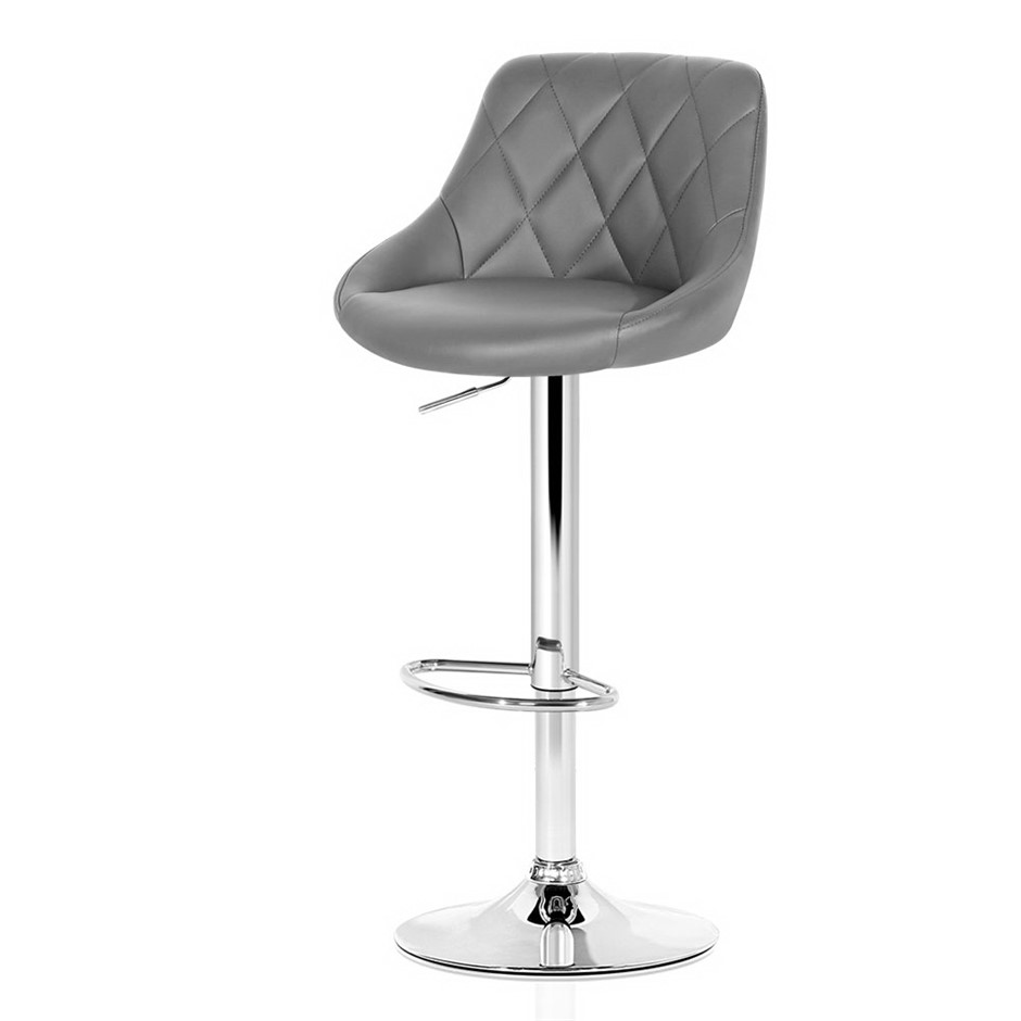 2xArtiss ELAN Bar Stools Swivel Bar Stool Leather Gas Lift Chairs Grey