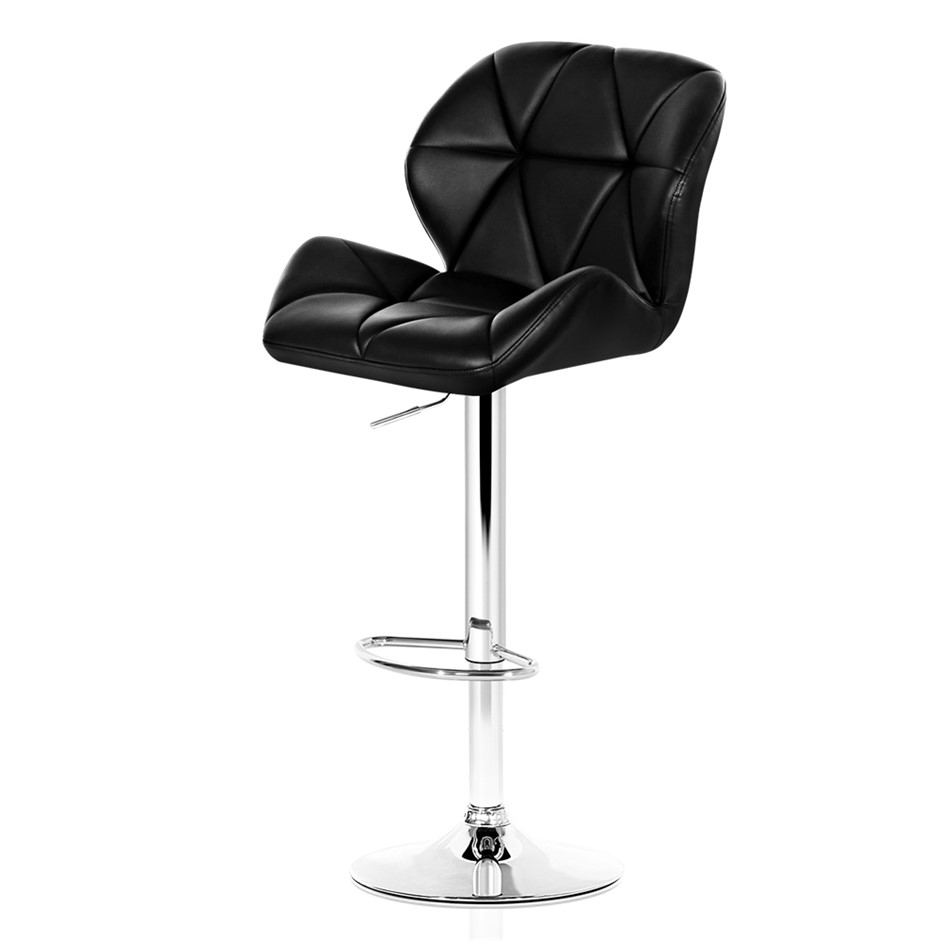 2xArtiss JORN Bar Stools Swivel Bar Stool Leather Gas Lift Chairs Black