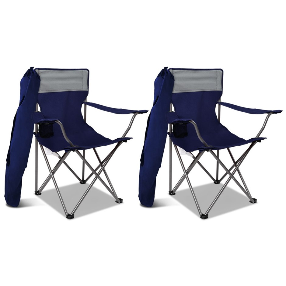 2X WEISSHORN Folding Camping Chairs Portable Outdoor Garden Fishing Navy