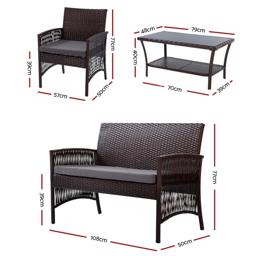 Buy Gardeon Outdoor Furniture Rattan Set Garden Wicker ...