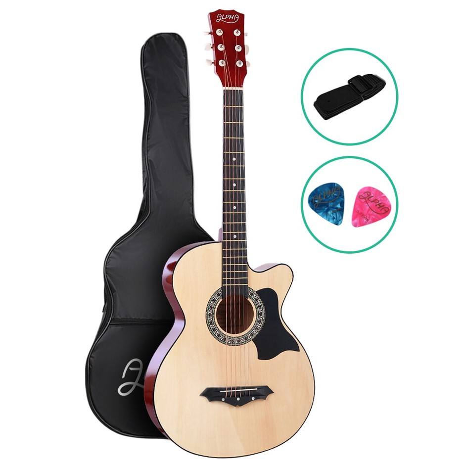 ALPHA 38 Inch Wooden Folk Acoustic Guitar Classical Steel String w/ Bag