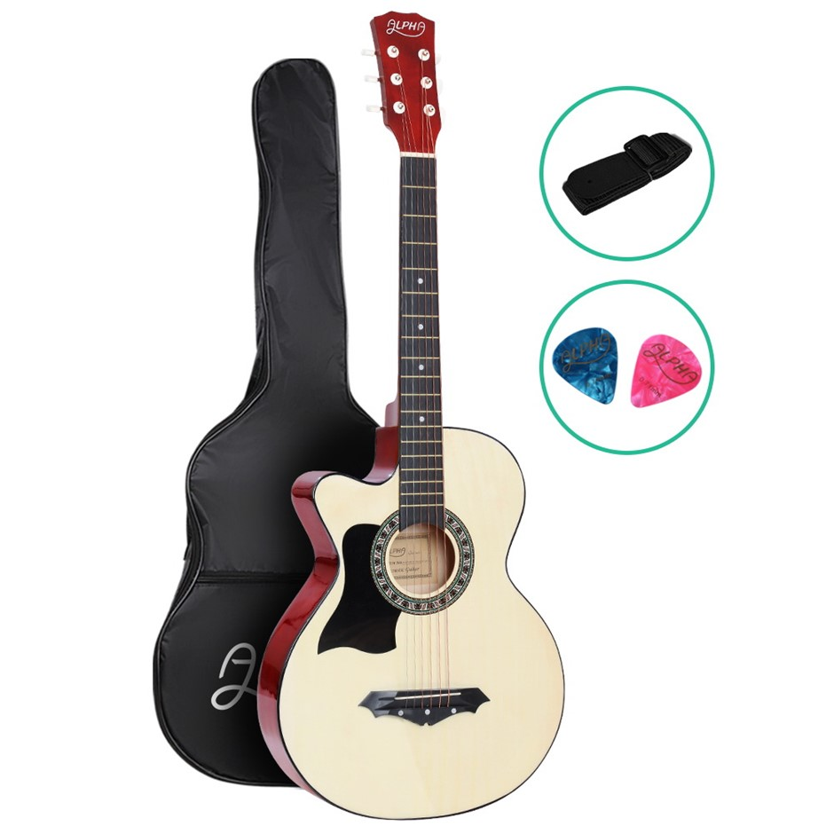 ALPHA 38 Inch Left Handed Acoustic Guitar Wooden Folk Classical