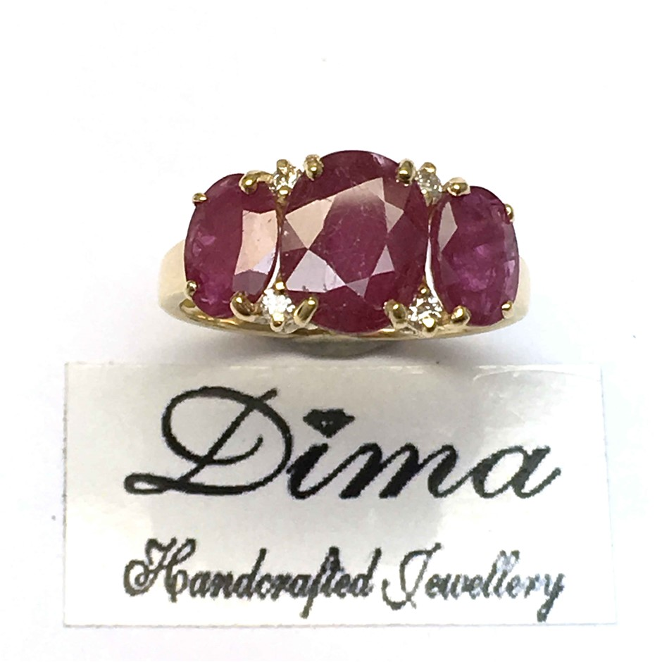 18ct Yellow Gold, 4.56ct Ruby and Diamond Ring