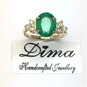 18ct Yellow Gold, 2.66ct Emerald and Dia