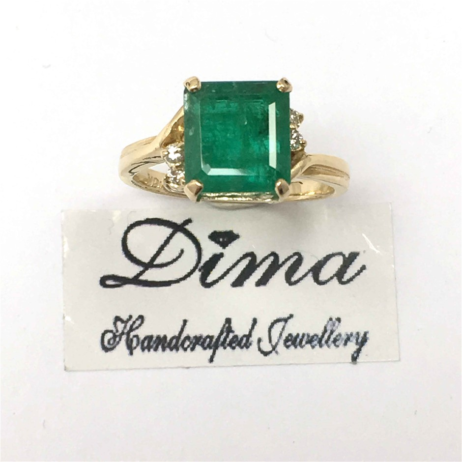 18ct Yellow Gold, 3.64ct Emerald and Diamond Ring