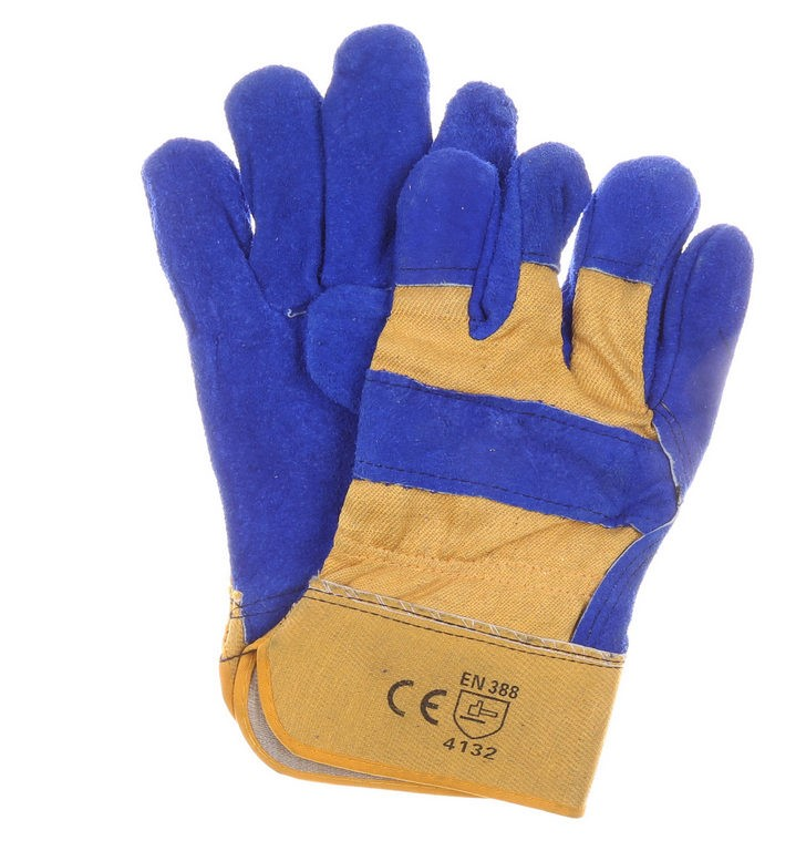 12 Pairs x Leather Cow Split Work Gloves, Size 2XL, Cotton Back with Knuckl