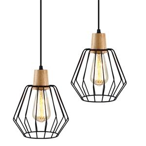Artiss 2x Wood Pendant Light Modern Ceil