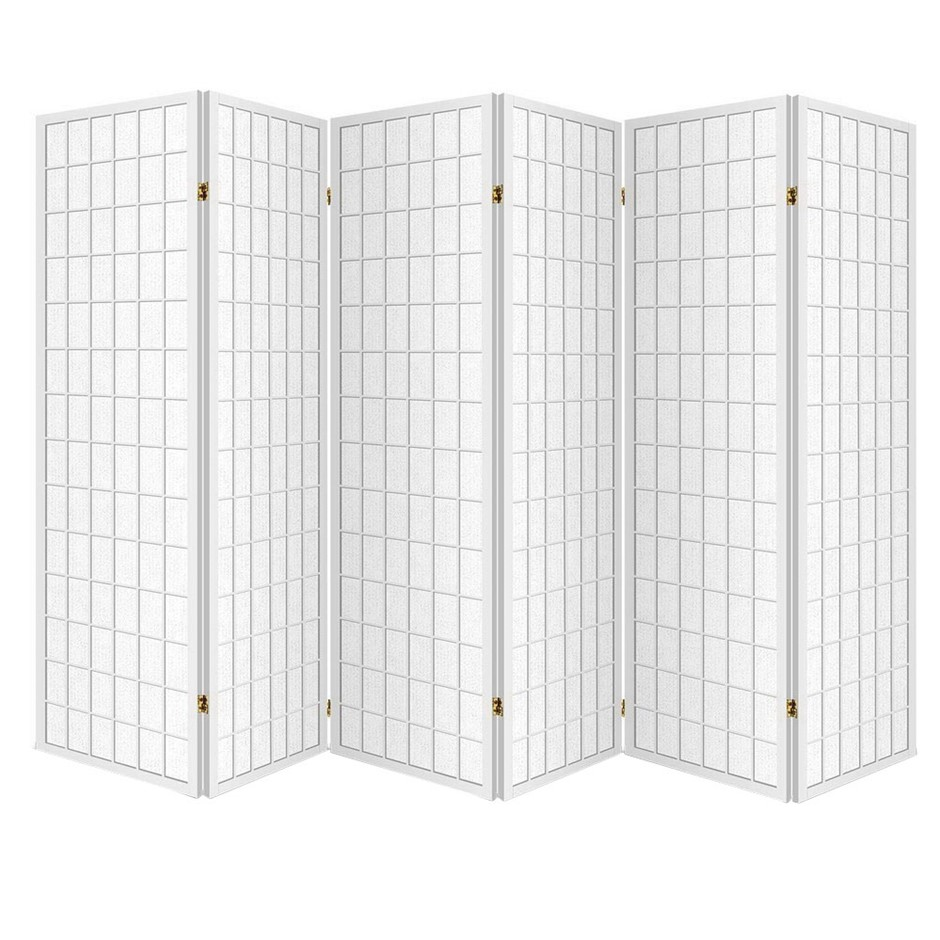 Artiss 6 Panel Room Divider Screen Wooden Timber White Fold Stand Privacy