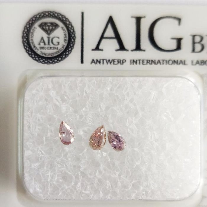 Three Loose AIG Pink Diamond 0.19ct in Total