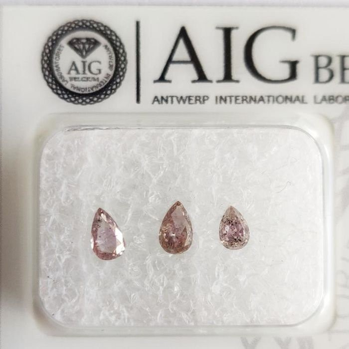 Three Loose AIG Pink Diamond 0.37ct in Total