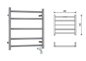 Heated Towel Rail 5 Bar Round Straight S