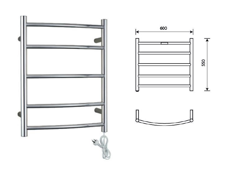 Heated Towel Rail 5 Bar Round Curved Style Universal Plug-In
