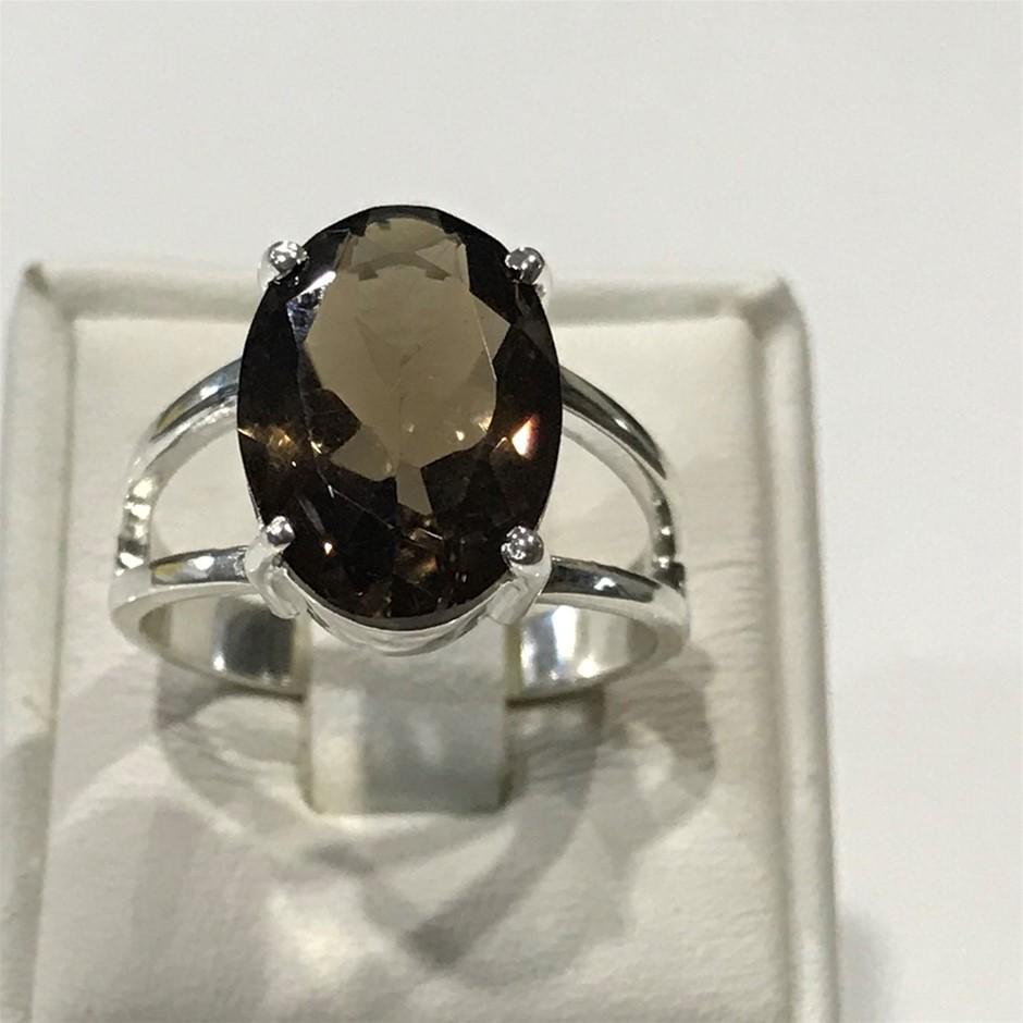Beautiful Genuine 8.80ct Amethyst Ring Size N 1/2 (7)