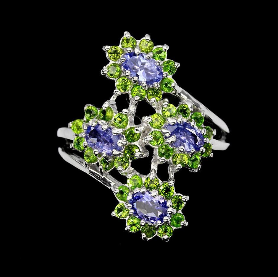 Delightful Blue Violet Oval Cut Tanzanite Ring. Size 'R'
