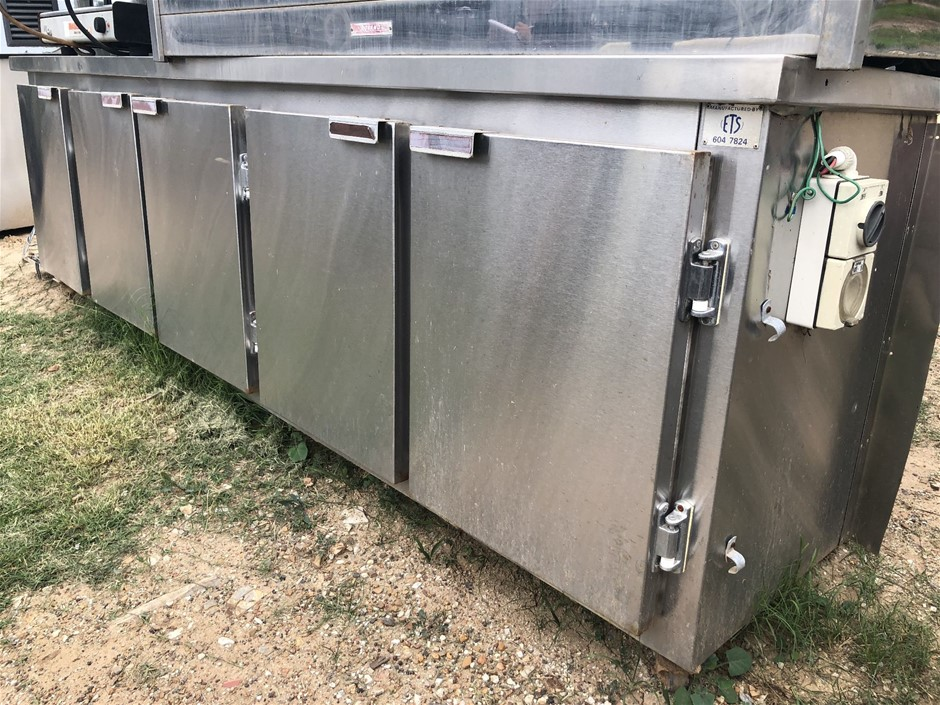 Stainless steel 5 door under bench refrigerator with SS prep bench