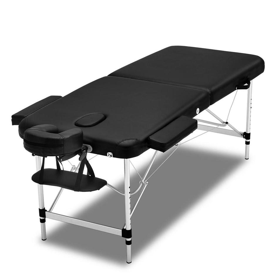 Zenses 2 Fold Portable Aluminium Massage Table Massage Therapy Black 55cm