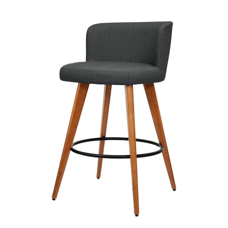 Artiss 2x Wooden Bar Stools Modern Bar Stool Kitchen Dining Cafe Charcoal