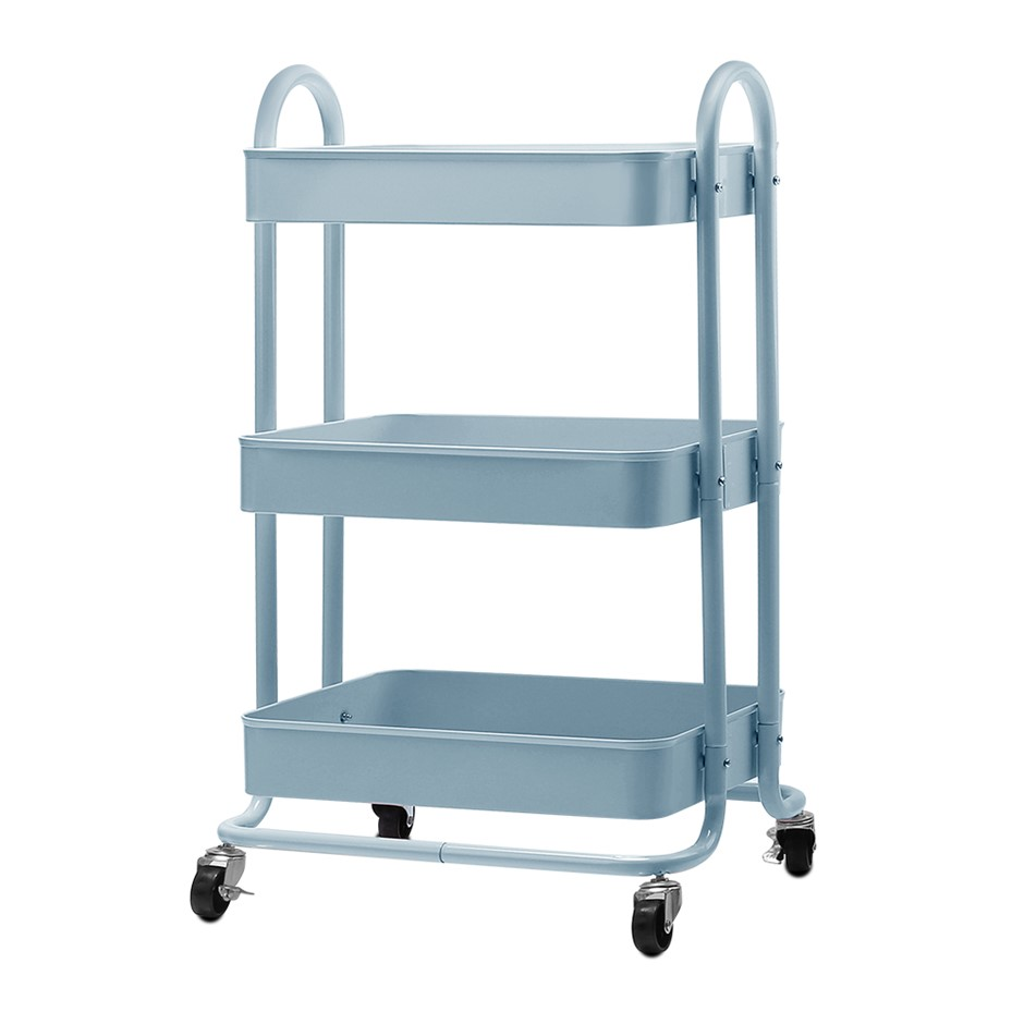 Artiss 3 Tier Kitchen Trolley Cart Utility Rolling Storage Shelf Portable