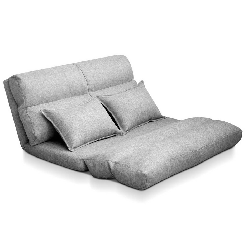 Artiss Lounge Sofa Bed Floor Recliner Chaise Folding Linen Fabric