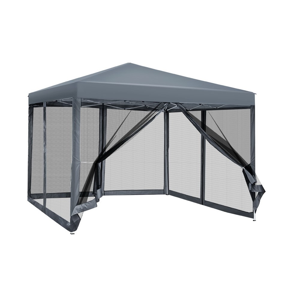 Instahut 3x3m Pop Up Gazebo Wedding Marquee Mesh Walls Outdoor Tent Grey