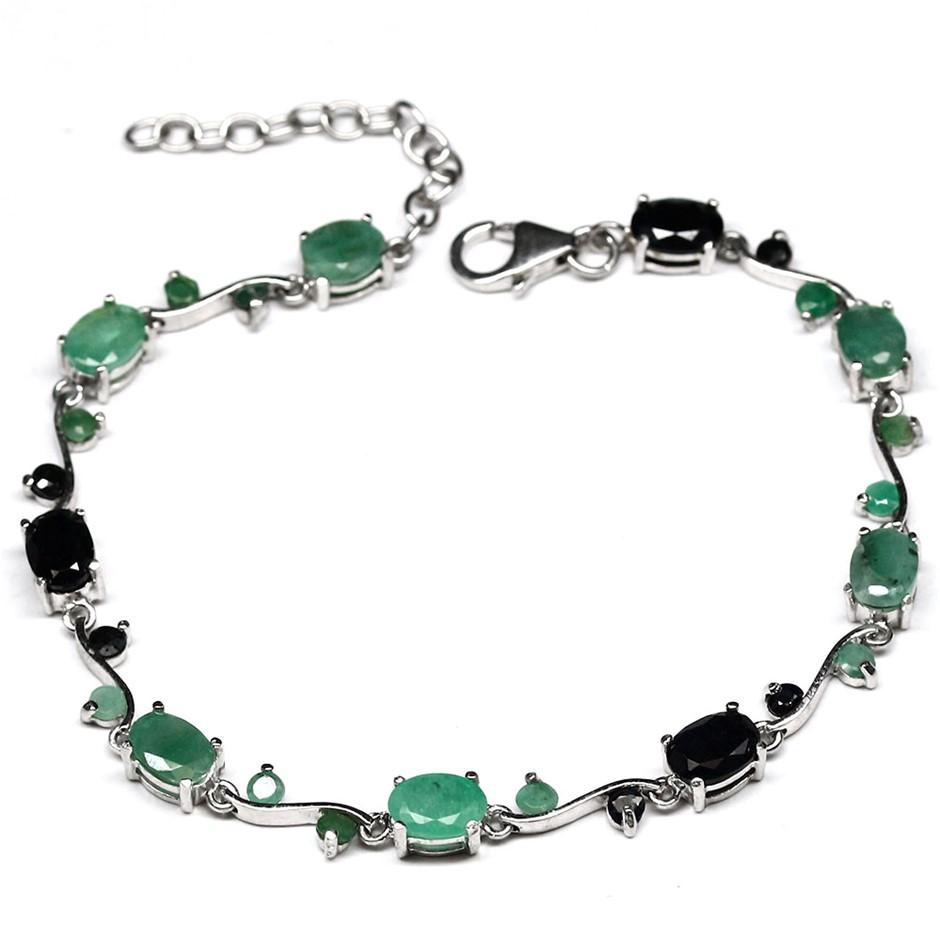Genuine Emerald & Sapphire Tennis Bracelet.