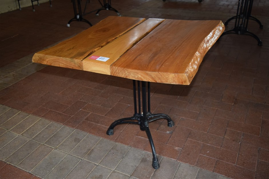 """African Hardwood Lacquered """"Blonde Wood"""" Table on Cast Iron Base"""