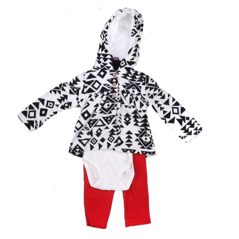 2x CARTER`S 3pc Girls Clothing Sets, Incl; Hooded Jacket, Onesie & Leggings