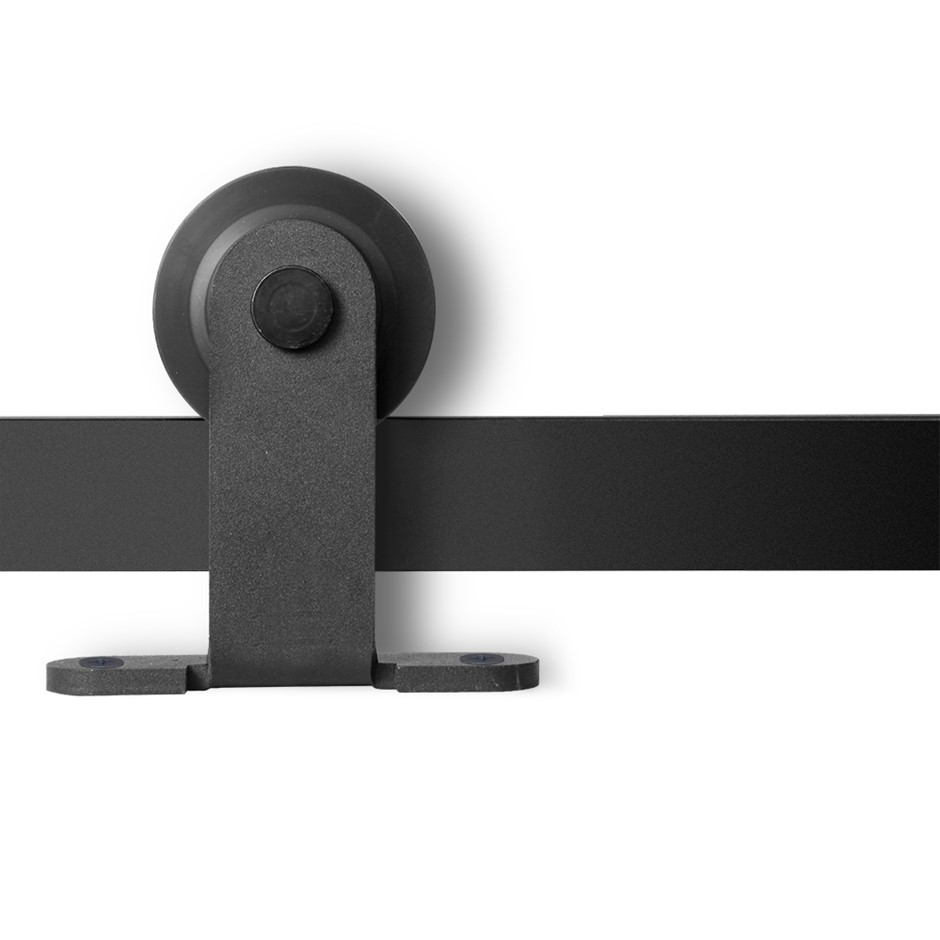 Sliding Door Hardware Track Set Powder Coat Steel Black - 2M