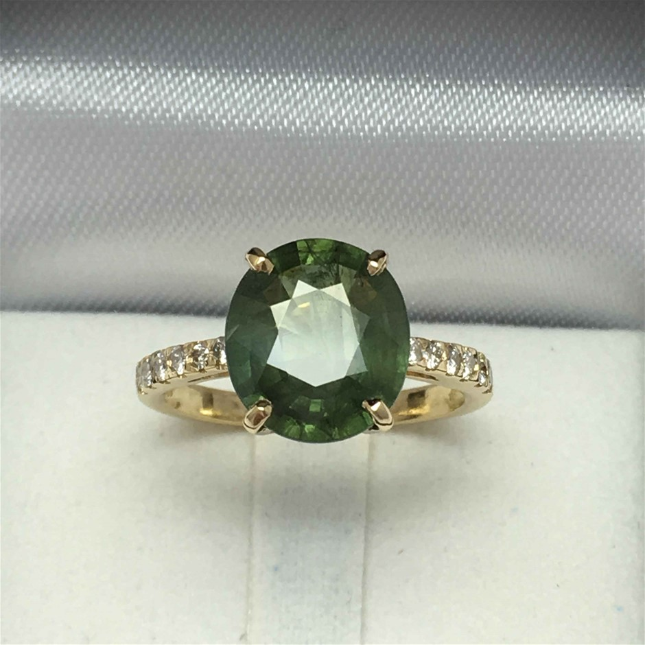 18ct Yellow Gold, 4.88ct Sapphire And Diamond Ring