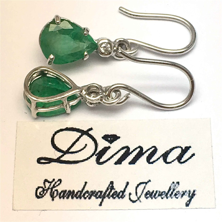 18ct White Gold, 3.62ct Emerald and Diamond Earrings