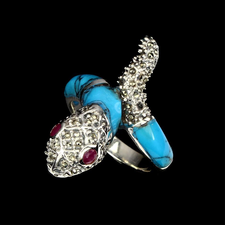 Gorgeous Unique Genuine Ruby & Turquoise Cobra Ring.