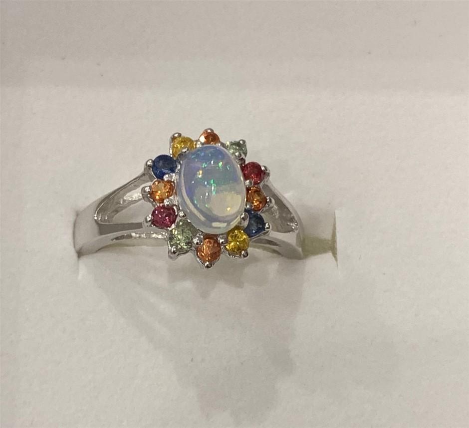 Genuine Sapphire & Fire Opal Ring.