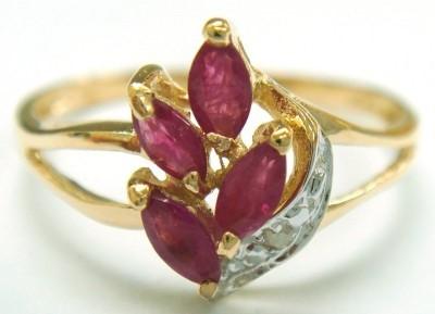 Genuine Diamond & Ruby 9K Gold Ring.