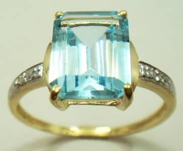 Spectacular Genuine Diamond & Blue Topaz 9K Gold Ring.