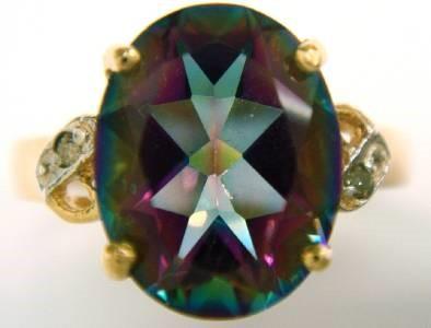 Beautiful Genuine Diamond & Mystic Topaz 9K Gold Ring