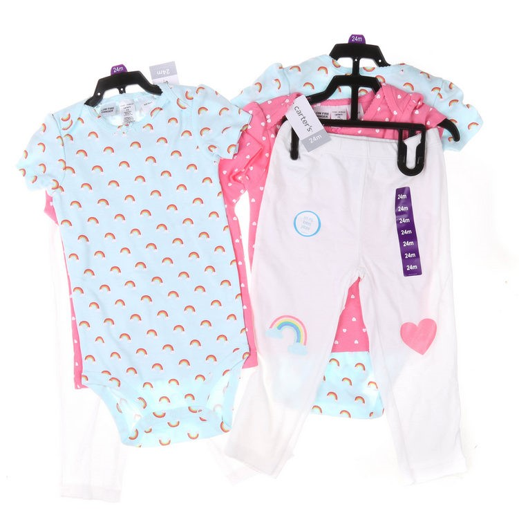 2 x Girl`s 3pc Clothing Sets, Size 24M, Comprising; Tights, Top & Romper, H