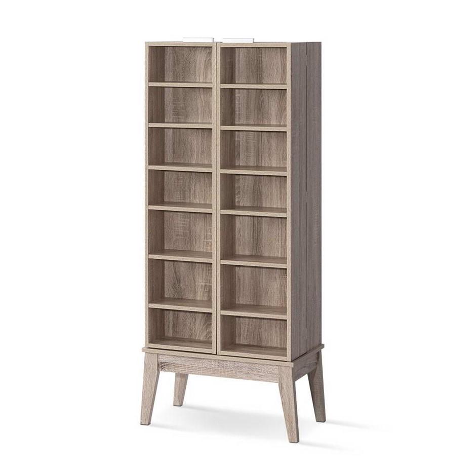 Artiss CD/DVD Media Shelf Adjustable Storage Rack Foldable Bookshelf Oak