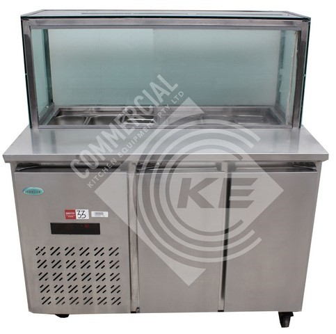 ICE BLUE 2 DOOR SALAD BAR FRIDGE WITH ANGLED STRAIGHT GLASS CANOPY,