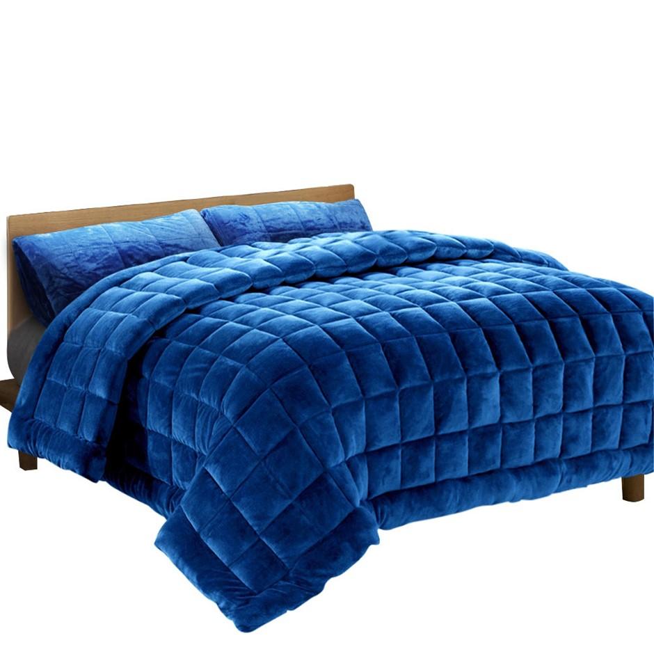 Giselle Bedding Faux Mink Quilt Comforter Doona Fleece Blanket Navy Queen